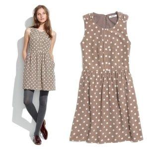 Madewell 100% Silk Tan Shirred Polka Dot Dress